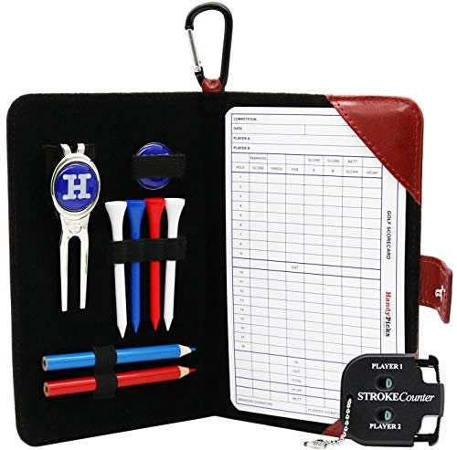 Handy Picks Golf Scorecard Holder n Yardage Book Cover in Genuine Leather - Divot Repair Tool, Ball Marker, Golf Tees, Pencil n Scorecards, Scorer Included, Gift for Golfers (Dark Red)