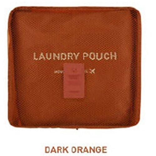Portable Travel Storage Bag Underwear Luggage Suitcase Tidy Laundry Bag Laundry Bag Mesh Bag Organizer, Red Orange