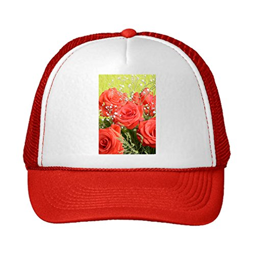 Bouquet Of Blossoming Dark Red Roses Adjustable High Profile Trucker Hat Cap (Red Hat Rose Bouquet)