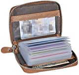 #3: Easyoulife Credit Card Holder Wallet Womens Zipper Leather Case Purse RFID Blocking