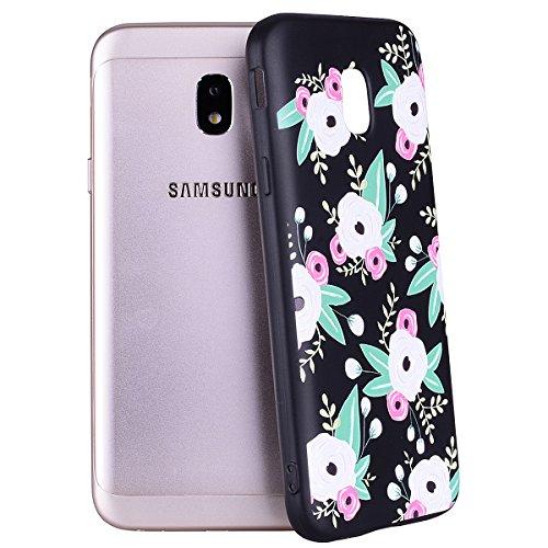 Funda Samsung Galaxy J3 2017/J330(Versión Europea), EUWLY Negro Silicona Fundas para Samsung Galaxy J3 2017 Goma Gel Suave TPU Cárcasa Caso con Pintura Dibujos Impresión En Relieve Patrón Bumper Case  Flores rosadas blancas