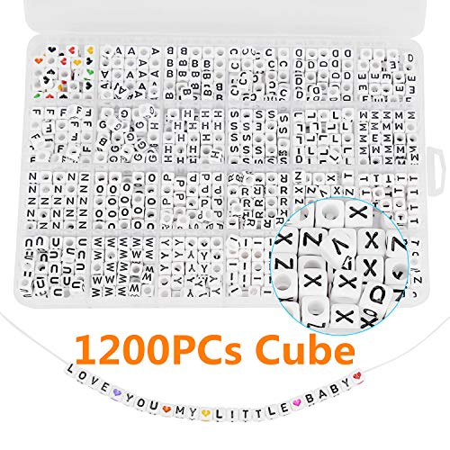 Maksuzee 1200/1620/600PCS Acrylic Letter Beads A-Z Letter Round/Cube Alphabet Letter Beads for Jewelry Making Bracelets Necklaces and Key Chains