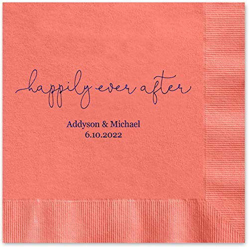 Happily Ever After Personalized Luncheon Napkins - 100 Custom Printed Coral Paper Coined Napkins with a choice of foil. 6 1/2'' x 6 1/2'' folded, Made in the -
