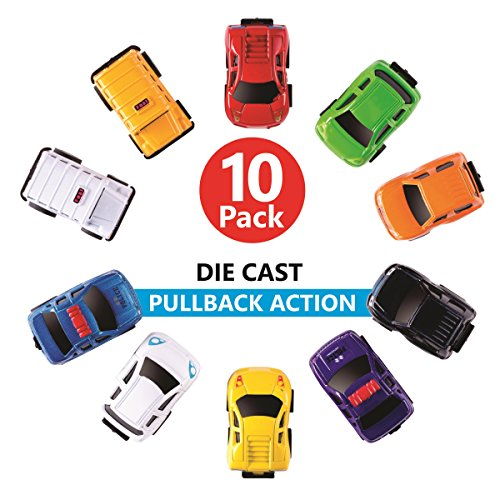 Playkidz: Die-cast Cars, Pull Back Action Vehicles for Toddlers & Kids 10 PCS Set - Friction Powered-Bright Colored