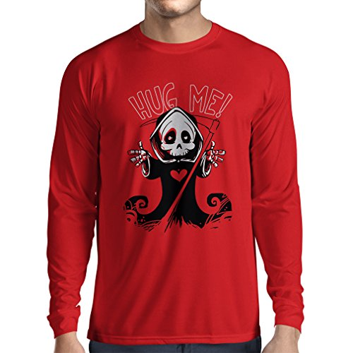 Long sleeve t shirt men The Death is coming! Halloween Skeleton clothes, evil Skull sickle (X-Large Red Multi Color)