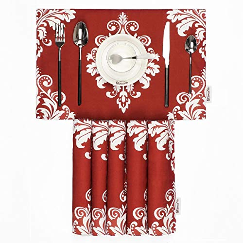 BRAWARM Placemats for Dining Table Vintage Damask Floral Farmhouse Table Mats Solid Printed Handmade Place Mats for Kitchen Table 12 X 18 Inches Burgundy Set of 6 ()