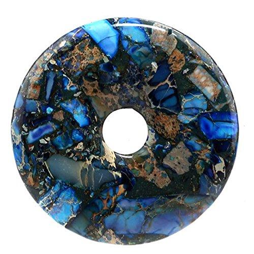 Necklace Pendant Jasper Beads (40mm Gemstone Dyed Sea Sediment Jasper Reiki Healing Chakra Donut Pendant Bead DIY Jewelry Accressory Necklace Kit (Blue & Pyrite))