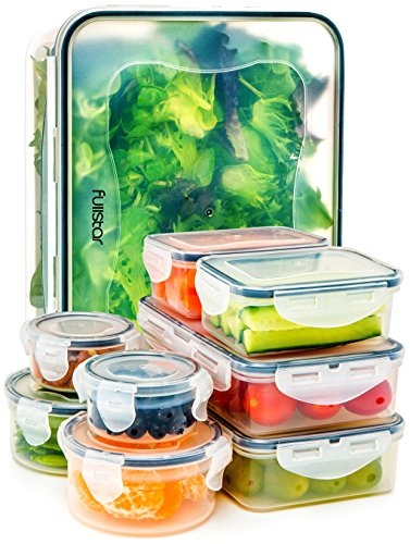 ers with Lids - Airtight Leak Proof Easy Snap Lock and BPA Free Clear Plastic Container Set for Kitchen Use by Fullstar (18 Piece Set) (Leftovers Containers)