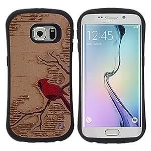"""Hypernova Slim Fit Dual Barniz Protector Caso Case Funda Para Samsung Galaxy S6 EDGE [Arte rojo del pájaro Rama Fairytale""""]"""