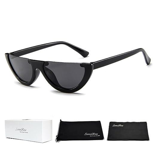 d511ac5eed74 SamuRita Bold Half Lens Frame Cat Eye Sunglasses Mod Tinted Retro Shades( Black+Black