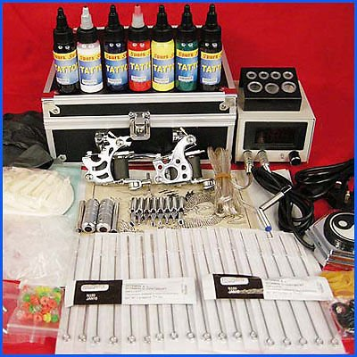 Professional Complete Tattoo Kit 2 Top Machine Gun 7 Color Ink 50 Needles Power Supply by Tattoo-Supply (Image #1)
