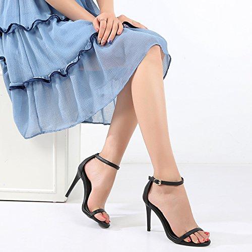 7cm de Zapatos Sandalias de Pañuelo de tacón de mezclilla tacón claro fino Hebillas VIVIOO face Sandalias tacón alto blancas de Tacones alto Black verano Sandalias Azul tacón de alto xRfXqw