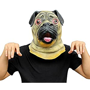 Queenshiny Latex Animal Head Mask Halloween Cosplay Party Costume Fancy Dress (One Size, Bulldog)