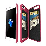 iPhone 7 Plus Mirror Wallet Case for Women -Bidear (TM) Enclosed Mirror Back Cover with 3 Bank Card Slot Protective Hard Case, HD Screen Protective Film for Apple iPhone 7 Plus -5.5 Inch (Magenta)