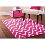 Good Mainstays Distressed Zig Zag Area Rug, Pink/White