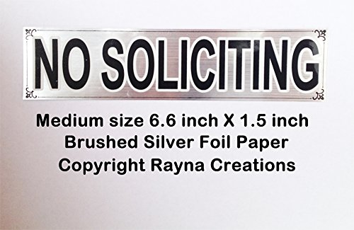 Brushed silver NO SOLICITING sign sticker for business office or home, chrome finish foil paper. Satisfaction or - Tracking Mail International Class First