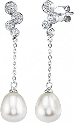 925 Sterling Silver 8-9mm White Freshwater Cultured Pearl /& CZ Dangle Earrings
