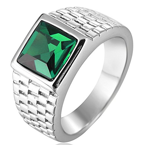 SAINTHERO Men's Classic Stainless Steel Wedding Band Rings Created Princess Gemstone Rings Silver&Green Size 10