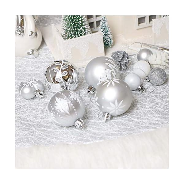 Victor's Workshop 70 Pezzi di Palline di Natale, 3-6 cm congelato Inverno Argento e Bianco Infrangibile Ornamenti Palla di Natale Decorazione per la Decorazione Dell'Albero di Natale 5 spesavip