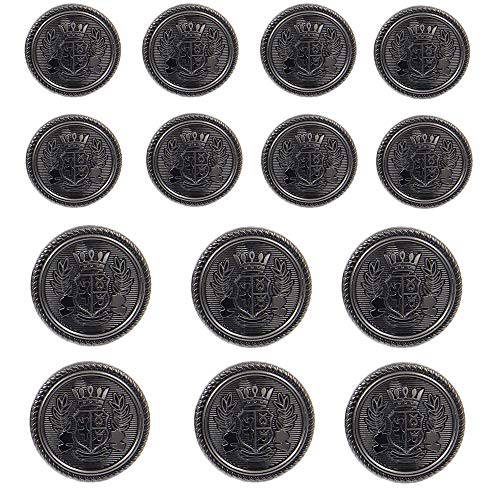 (Chris.W 14 Pcs Antique Metal Blazer Buttons Set for Suits, Sport Coat, Uniform, Jackets, 6 Pcs 20mm and 8 Pcs 15mm, Shank Style(Gun Black) )