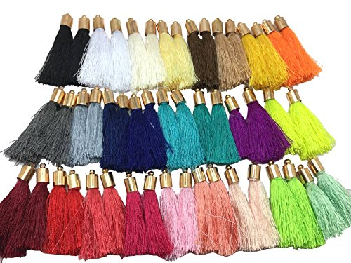 ps-New 50pcs 1.7'' inch Silk Tassel for Earring, Bracelet, Necklace and Keychain Tassel (Gold) ()