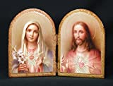 Sacred Heart of Jesus and Immaculate Heart of Mary Florentine Diptych, 9.5 x 6.5 inches. Made in Italy.