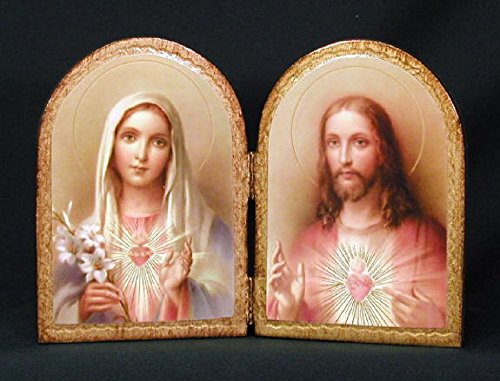 Sacred Heart of Jesus and Immaculate Heart of Mary Florentine Diptych, 9.5 x 6.5 inches. Made in Italy. by GSV001