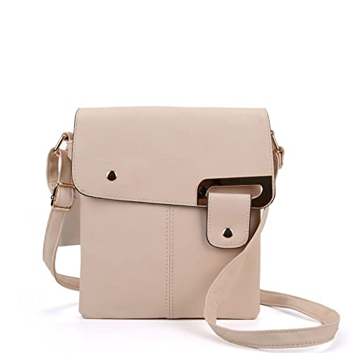 aca134dbd7 Amazon.com  SALLY YOUNG Fashion Women Classic PU Leather Flap Cross Body Bags  Messenger Bags (Beige)  Shoes
