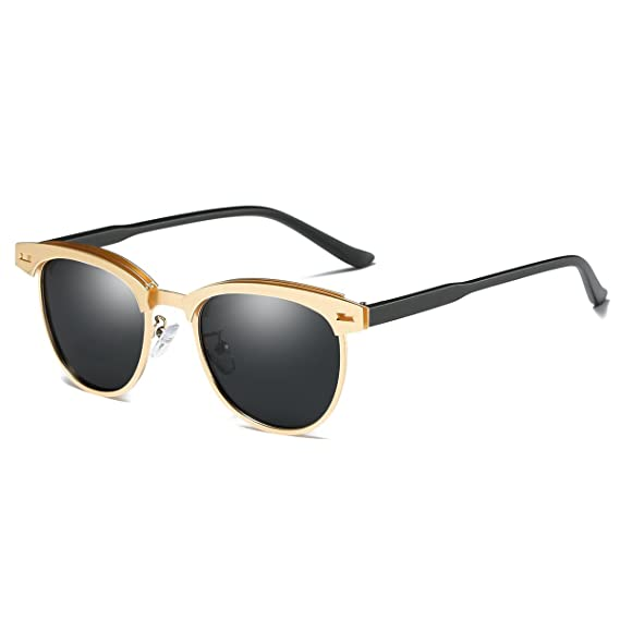 227f2b553bec6 Semi Rimless Polarized Sunglasses for Men Classic Metal Retro Rivets Women  Sun Glasses (Gold Grey)  Amazon.co.uk  Clothing