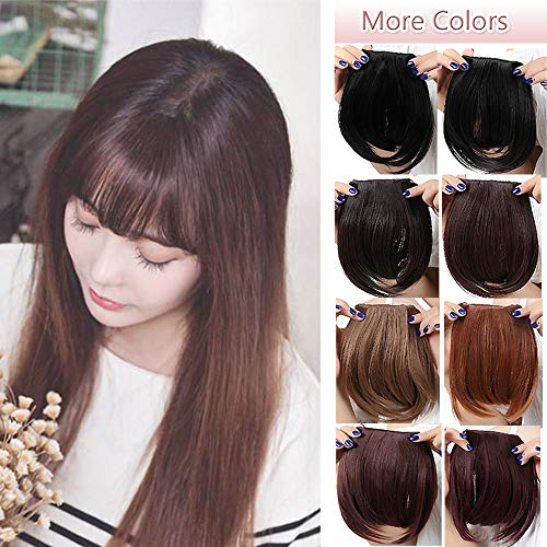Fashion Clip In Bangs Extensions Front Full Neat Bangs Fringe 2 Clips One Piece Thick Straight Hairpiece Accessories Synthetic Hairpiece For Women (8 inches,dark -