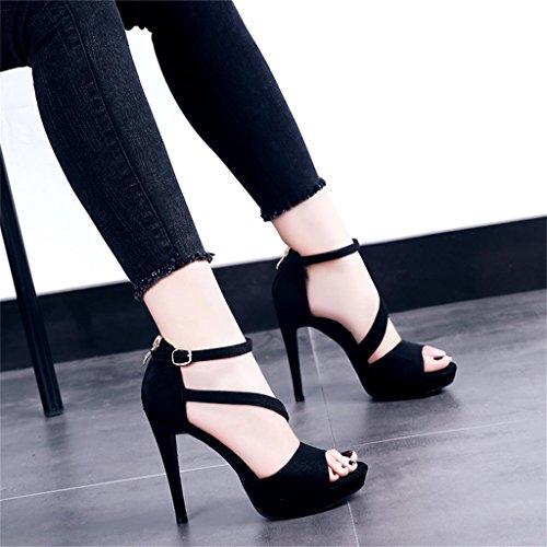 Nero neri Tacchi scarpe nere Colore impermeabile piede piattaforma esposta 12cm dimensioni estivo Nero fine 35 con alti altezza 5Uq1nAUwT