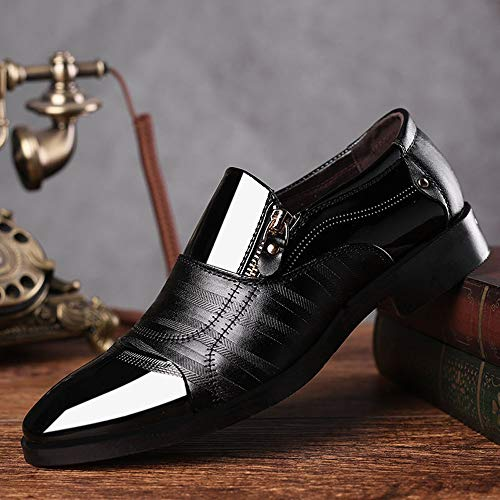 Zapato Zapatos De ALIKEEYZapatos Pedal Casual Cremallera Los De Puntiaguda Hombres Lazy De Un Cabeza Vestir Negocios De Negro 6B6qFw