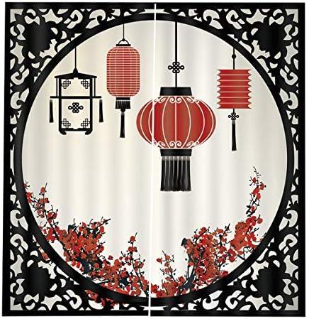 QinKingstore ヴィンテージ中国2ピース/セット150×166センチウィンドウカーテン用ホームキッチンリビングルームベッドルームウィンドウ装飾