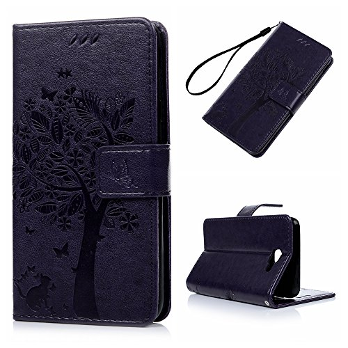 Galaxy J7 Prime Case,galaxy On7 Case - Wallet Case Folio Stand Case 3d Embossed Tree Pu Leather Case With Slim-fit Protective Shockproof Tpu Inner Bumper Card Slots Hand Strap - Purple Picture