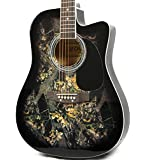 Moz Full Size Thin Body Black Acoustic Electric Guitar with 8 Accessories