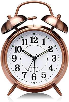 Reloj despertador de mesa de noche analógico con luz nocturna y ...