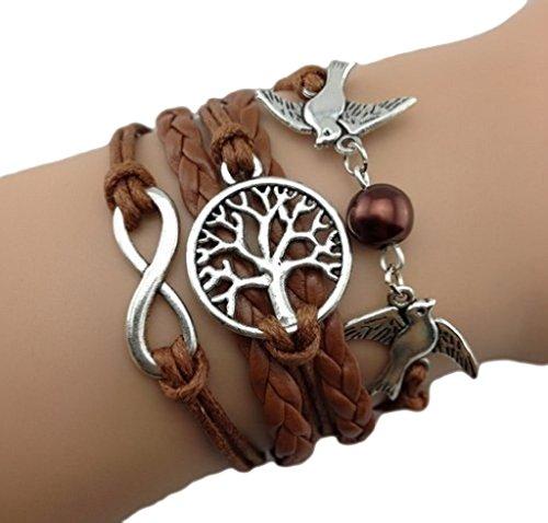 Bracelet marron clair couple d'oiseaux, arbre de vie perle et lien infini