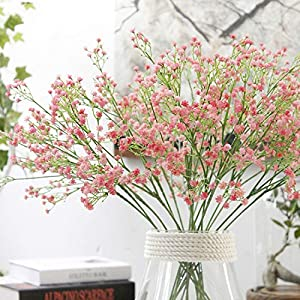 80 Mini Heads 1PC Artificial Flower Gypsophila Fake Silicone Plant for Wedding Home Party Decorations,Pink 5