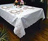 Violet Linen Rivierra Embroidered Design Tablecloth, 70