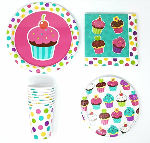 PartyDeiz Bundle Cupcake & Dots Theme (10 Paper Dinner Plates, 10 Paper Dessert Plates, 20 Luncheon Napkins and 8 Paper Cups) Birthday Party Supplies