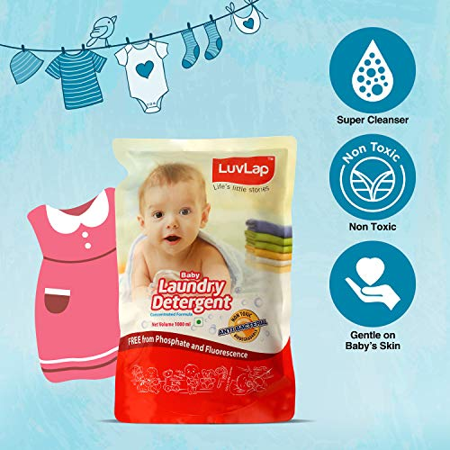LuvLap Baby Laundry Liquid Detergent, Food Grade, Refill Pack 1000ml