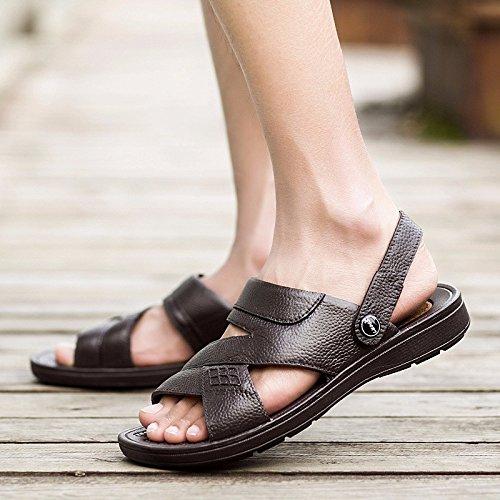 Das neue Sommer Männer Sandalen Strand Schuh Männer Freizeit Leder Sandalen RutschfestDualer GebrauchSandalen ,braun ,US=9.5,UK=9,EU=43 1/3,CN=45