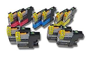 Set 10x Cartuchos de tinta con Chip para Brother DCP-J 4110 W, 552 DW, 752 DW sustituye LC121, LC121BK, LC121C, LC121M, LC121Y.