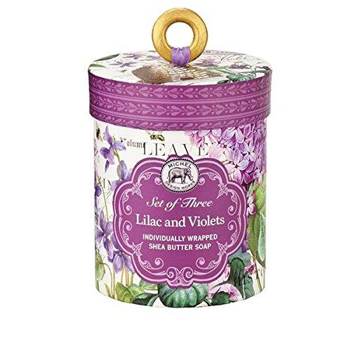 Michel Design Works Triple Milled 3-Piece Shea Butter Soap Gift Set, Lilac & Violets