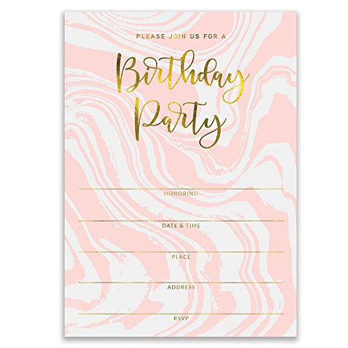 "Pink Birthday Party Invitations Modern Swirling Colorful Fill In Invites with Envelopes (Pack of 25) Large 5x7"" Blank 21st Sweet 16 Adult Teen Child Kid Female Girl Parties Excellent Value VI0073B by Digibuddha"