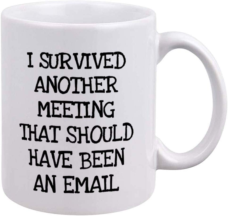 Funny Office Mug - I Survived Another Meeting That Should Have Been An Email - Unique Birthday Christmas Gift for Mom, Dad, Co-Worker, Employee, Boss, Friends and Teachers - Novelty Tea Cup 11oz
