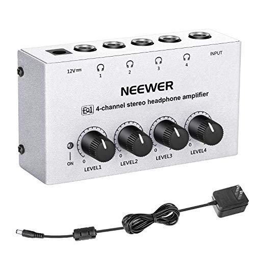 Neewer 4-Channel Stereo Headphone Amplifier Professional Multi Channel Earphone Splitter Amp with 1/4