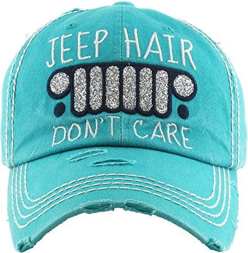 H-212-JHDC46 Distressed Patch Dad Hat: Jeep Hair Don't Care, Teal