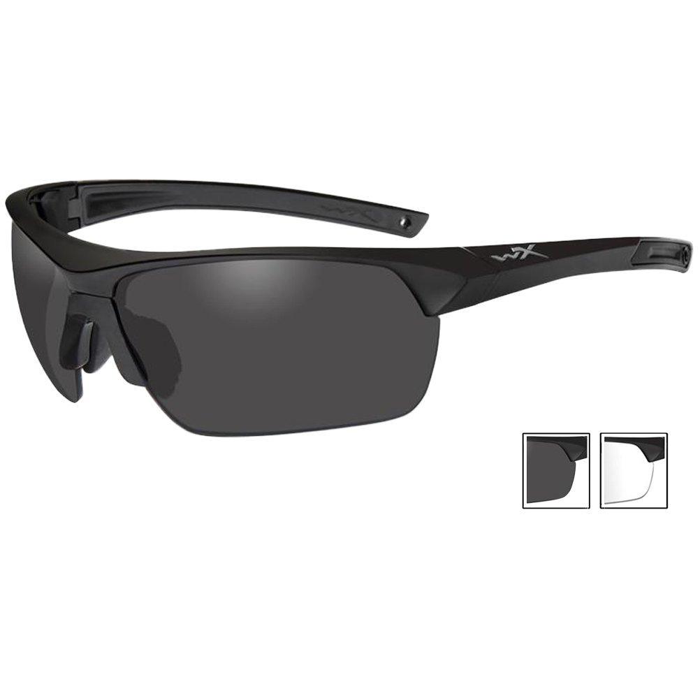 Wiley X 4004 Guard Advanced Glasses Smoke Grey Clear Lenses Matte Black Frame