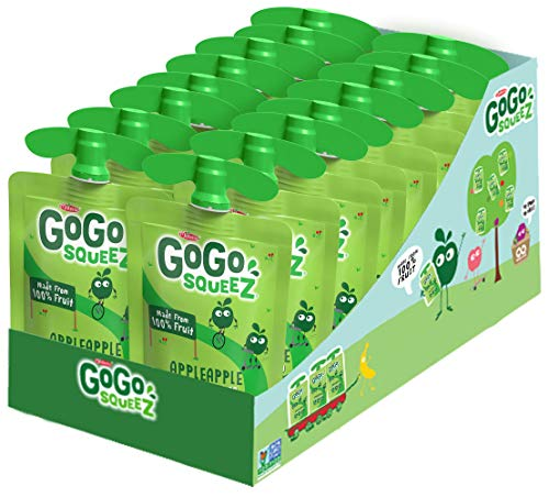GoGo squeeZ Applesauce on the Go Apple Apple 3.2 Ounce (18 Pouches) Gluten Free Vegan Friendly Unsweetened Applesauce Recloseable BPA Free Pouches (Package May Vary)